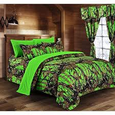 Regal Comfort - BioHazard Green Camouflage Twin 5pc Premium Luxury Comforter, Sheet, Pillowcases, and Bed Skirt Set by Camo Bedding Set For Hunters ...