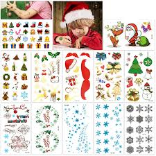 Christmas Tattoos For Kids 12sheet 160deigns Konsait Christmas Themed Temporary Tattoo With Glitter Fake Stickers Face Tattoos Waterproof Xmas