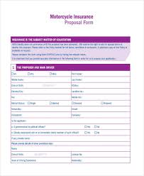 motorcycle insurance proposal motorcycle insurance proposal form