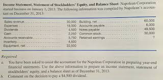 how to prepare an income statement and balance sheet solved income statement statement of stockholders equit
