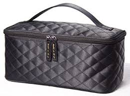 black satin cosmetic bag by models on the go large size