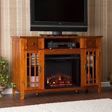boston loft furnishings 52 in w 4 700 btu mission oak wood fan forced electric fireplace with thermostat and remote control