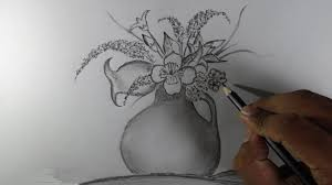 how to draw a flower vase pencil drawing