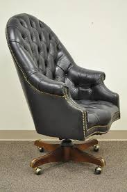 tufted office chair. Beautiful Chair Vintage Deep Tufted Black Leather English Chesterfield Style Barrel Back Desk  Chair Item Features Rolled And Tufted Office Chair D