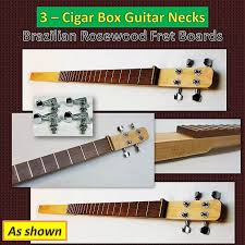 three cigar box guitar necks hard maple and fretted cigar s
