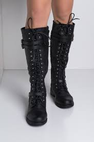 delta faux leather combat boots timberly 65 front view lace up knee boots in black pu