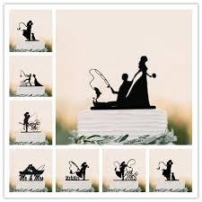 2019 Funny Wedding Cake Topper Fishing Style Bride Groom Mr