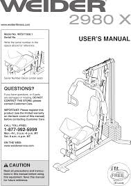 Weider 2980x Exercise Chart Download Weider 2980 X System Wesy1938 Users Manual 285430
