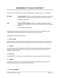 sales contracts sample amendment to sales contract template sample form biztree com