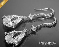 cubic zirconia chandelier earrings crystal bridal earrings cz teardrop dangle earrings cz bridal jewelry vintage style earrings prom earring 34 50 usd
