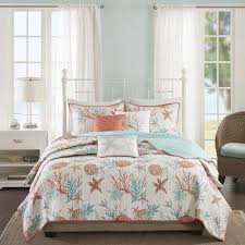 Amazon.com: Madison Park - Pebble Beach 6 Piece Quilted Cotton ... & Amazon.com: Madison Park - Pebble Beach 6 Piece Quilted Cotton Coverlet Set  - Coral & Teal - Full/Queen - Coastal Theme - Includes 1 Coverlet, 2 Shams,  ... Adamdwight.com