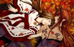 обои девушка аниме демон арт рога парень кимоно татуировки