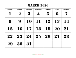Month Of March Calendar 2020 Free Download Printable March 2020 Calendar Large Font