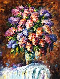 blue and red flowers palette knife oil painting on canvas by leonid afremov size