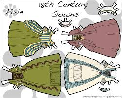 18th cent paper doll gowns 2 color