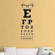 Amazon Com Wall Vinyl Decal Eye Chart Glasses Opticians