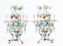 antique pair venetian 7 light table top chandeliers murano ref no 07438a