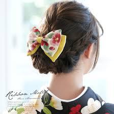 髪飾り 黄色 イエロー 白 アイボリー リボン 椿柄 花柄 縮緬 ちりめん