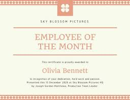 Free Employee Of The Month Certificate Template Amazing Peach Diamond Line Employee Of The Month Certificate Templates By