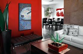 red accent decor inspirations wall living room home minimalist decorations