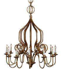 wildwood 1185 iron 10 light 31 inch old gold chandelier ceiling light photo