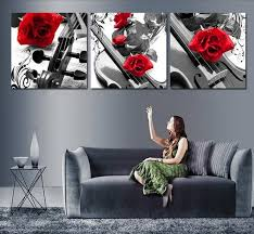 2018 handmade black white red wall art oil paintings on canvas large flowers pictures for bedroom as unique gift purple rose from carefreeping