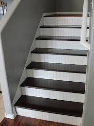 beadboard stair risers and painted treads