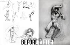 figure drawing tutorial before and after art progress an
