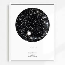 Star Chart Poster Custom Personalized Star Constellation Map Minimal Star Chart