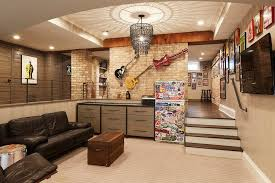 basement man cave with guitars on wall