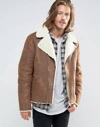 asos asos faux shearling biker jacket men tan