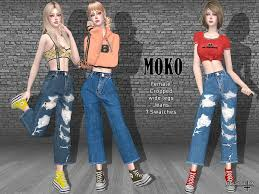 The Sims 4 MOKO - Cropped Jeans | Sims 4 dresses, Sims 4 clothing, Sims 4