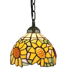 amora lighting tiffany style 1 light sunflower pendant lamp 8 in wide