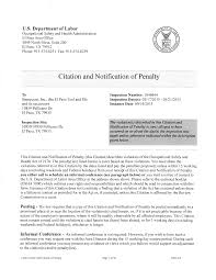 Citation And Notification Of Penalty