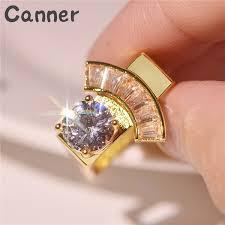 2019 Fashion Personality Geometric <b>White Zircon Engagement</b> Ring ...