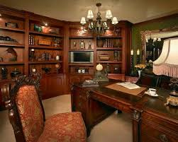 wood office. woodcentric home office design with builtin wood shelving contemporary chandelier and furnitre