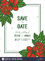 Red Save The Date Cards Vector Illustration Red Rose Flower Frame Blooms For Wedding