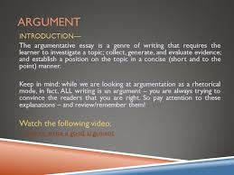 argumentative essay overview ppt video online  2 argument watch the following video introduction
