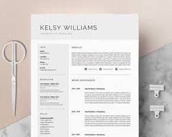 Modern Resume Template Oddbits Studio Free Download Modern Resume Template Cover Letter Icon Set For Microsoft Etsy