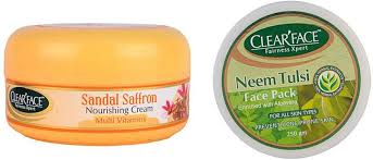 Clearface Sandal Saffron Nourishing Cream With Neem Tulsi Face Pack ...
