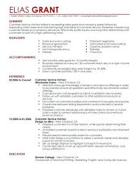Resume Templates For Sales Customer Service Advisor Resume Example