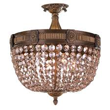 worldwide lighting winchester collection 4 light antique bronze and golden teak crystal semi flush