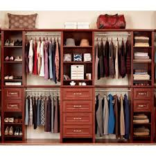 red wooden martha stewart closets with bottom shelves and drawers for home decoration ideas
