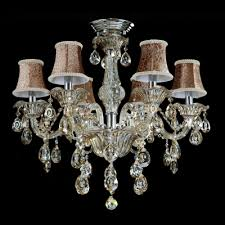 sparkling hand cut rock crystal drops beautiful pattern bell shades 6 light classic chandelier