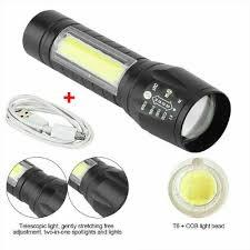 Đèn pin T6 COB LED có thể thu phóng ánh sáng và sạc lại được qua cổng USB  tốt giá rẻ