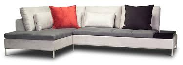 cream color l shaped sectional couch with gray leather cushion and steel  leg plus small coffe table for living room spaces ideas