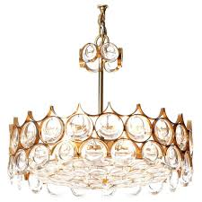 1960s palwa five light crystal cut glass and gilt brass chandelier