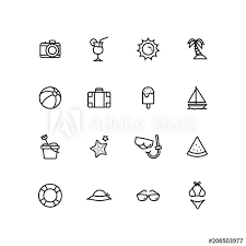 Summer Icons Outline Summer Icons Set For Fun Holidays Beach Travel Sign