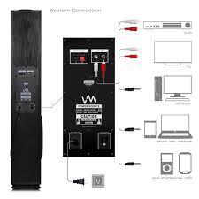vm audio exat black floorstanding powered bluetooth home tower vm audio exat11 black floorstanding powered bluetooth home tower speakers pair