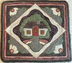 primitive rug hooking patterns rug hooking pattern cottage retreat x primitive rug design folk art house